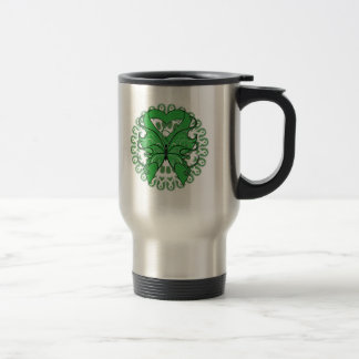 Traumatic Brain Injury Butterfly Circle of Ribbons 15 Oz Stainless Steel Travel Mug