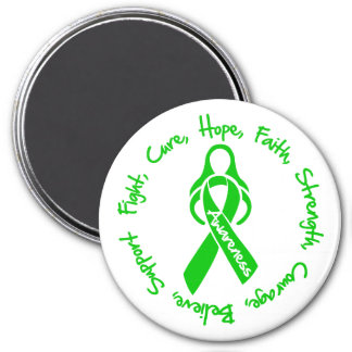 Traumatic Brain Injury Fight Cure Hope Logo 3 Inch Round Magnet