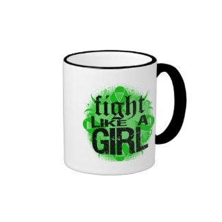 Traumatic Brain Injury Fight Like A Girl Rock Ed. Ringer Coffee Mug