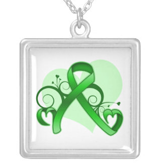 Traumatic Brain Injury Floral Heart Ribbon Square Pendant Necklace