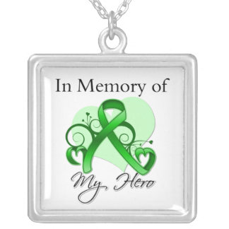 Traumatic Brain Injury - In Memory of My Hero Square Pendant Necklace