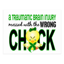 Traumatic Brain Injury Messed With Wrong Chick Postcard
