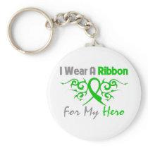 Traumatic Brain Injury Tribal Deco Ribbon Hero Basic Round Button Keychain