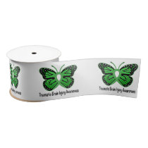 Traumatic Brain Injury with Butterfly 3 Inches Satin Ribbon