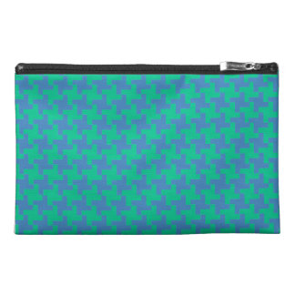 Travel Accessories Bag, Emerald and Blue Dogtooth Travel Accessory Bag