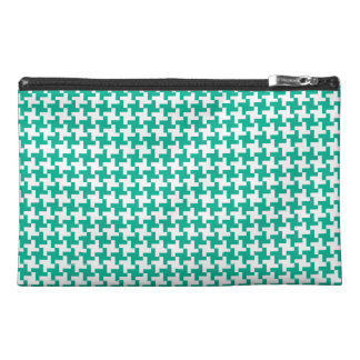 Travel Accessories Bag, Emerald Green Dogstooth Travel Accessory Bag