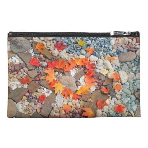 Travel Accessories Bag Heart Leaves Rock Garden