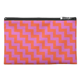 Travel Accessories Bag, Pink and Orange Zigzags Travel Accessory Bag