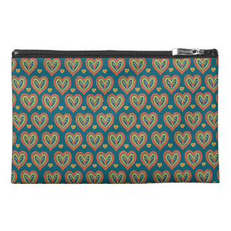 Travel Accessories Bag, Red, Green Hearts on Teal Travel Accessory Bag