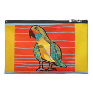 Travel Accessory Bag with Bright Parrot Design