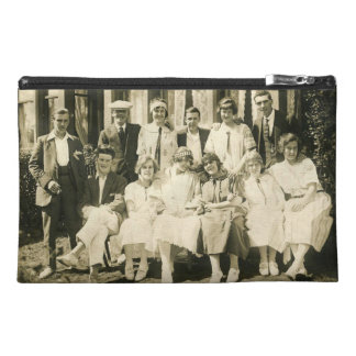 Travel accessory bag with vintage image