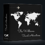 """travel adventures / world map black custom 3 ring binder<br><div class=""""desc"""">A black background with a white map of the world,  and your own family name in a script font-style with custom words &#39;Travel Adventures&#39;...  to collect photos and memories of your travels around the world</div>"""