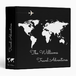 travel adventures / world map black custom 3 ring binder