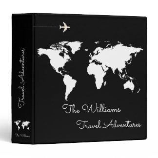 travel adventures / world map black custom 3 ring binder
