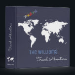 """travel adventures / world map custom blue binder<br><div class=""""desc"""">A blue background with a white map of the world and airplanes,  and with your own family name in a script font-style with custom words &#39;Travel Adventures&#39;...  to collect photos and memories of your travels around the world</div>"""