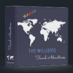 """travel adventures / world map custom blue binder<br><div class=""""desc"""">A blue background with a white map of the world and airplanes,  and with your own family name in a script font-style with custom words"""