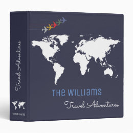 travel adventures / world map custom blue binder
