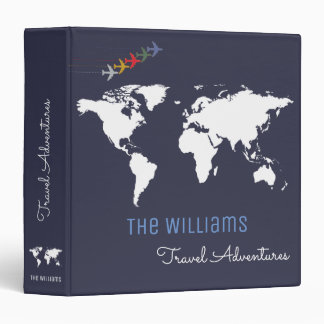 travel adventures / world map custom blue binder