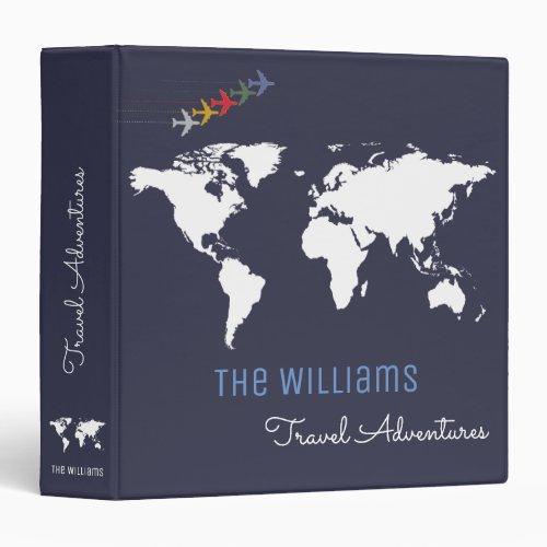travel adventures  world map custom blue binder