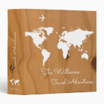 Travel Adventures / World Map On Wood, Custom 3 Ring Binder at Zazzle