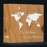 """travel adventures / world map on wood, custom 3 ring binder<br><div class=""""desc"""">A wooden background with a white map of the world,  and your own family name in a script font-style with custom words &#39;Travel Adventures&#39;...  to collect photos and memories of your travels around the world</div>"""