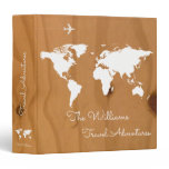 travel adventures / world map on wood, custom 3 ring binder