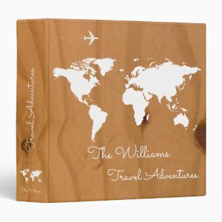travel adventures / world map on wood, custom 3 ring binder