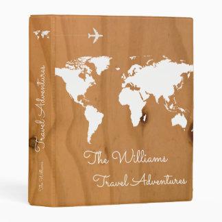 travel adventures / world map on wood, stylish mini binder