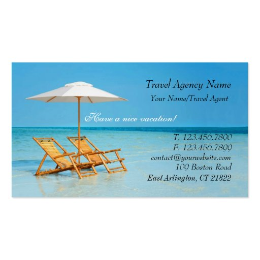Travel agent business cards for Travel agent business card