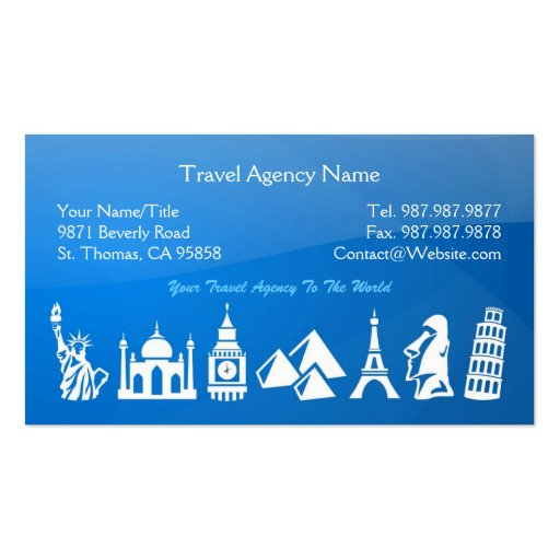Travel agency business card zazzle for Travel agent business card