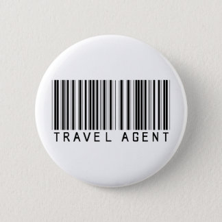 Travel Agent Barcode Pinback Button