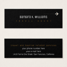 Travel Agent Black Profilecard With Airplane Mini Business Card at Zazzle