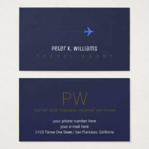 Travel business cards 5100 travel business card templates travel agent blue business card with an airplane wajeb Choice Image