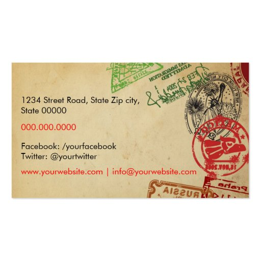 Travel Agent Business Cards (back side)