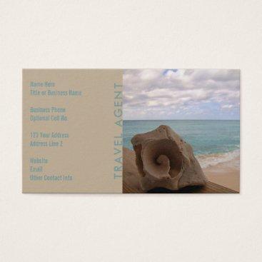 Beach Themed Travel Agent Seashell   Tropical Beach Business Card