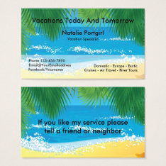 Travel Agent Specialist Tropical Theme Business Card at Zazzle