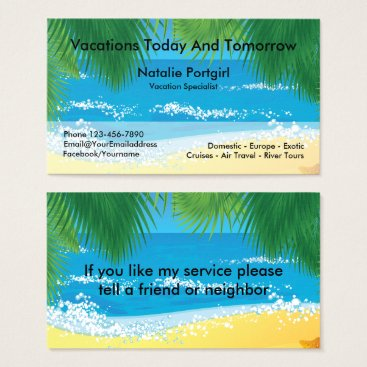 Professional Business Travel Agent Specialist Tropical Theme Business Card
