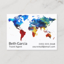 Travel Agent Watercolor Colorful Map Globe World Business Card