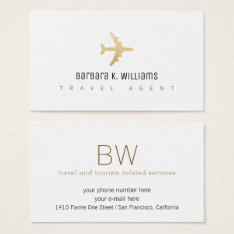 Travel Agent White Business Card With An Airplane at Zazzle