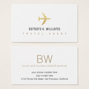 Travel business cards 5100 travel business card templates travel agent white business card with an airplane colourmoves