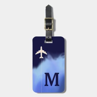 travel airplane personalized name & initial luggage tag