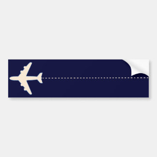 travel airplane with dotted line bumper sticker