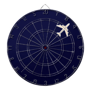 travel airplane with dotted line dartboard with darts