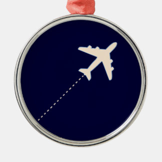 travel airplane with dotted line metal ornament