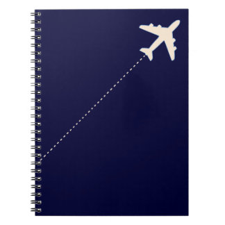 travel airplane with dotted line notebook