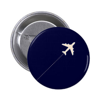 travel airplane with dotted line pinback button