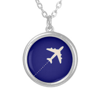 travel airplane with dotted line silver plated necklace