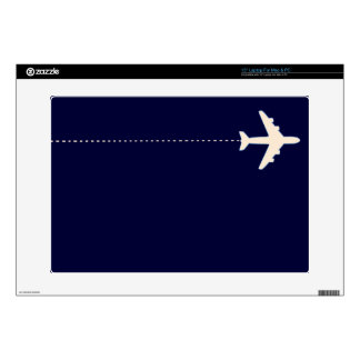 """travel airplane with dotted line skin for 15"""" laptop"""