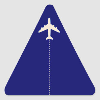 travel airplane with dotted line triangle sticker