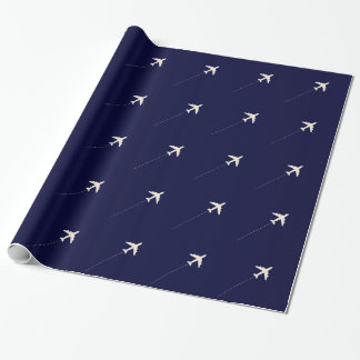 travel airplane  with dotted line wrapping paper